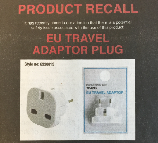 Dunnes Stores EU travel adaptor