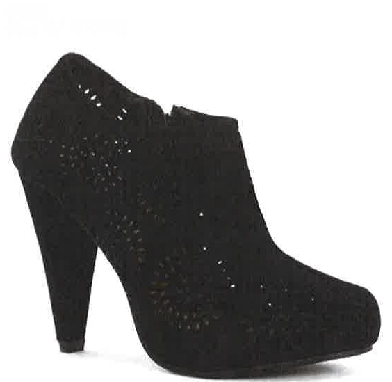 Savida Black Jewel Cut Out shoe boot