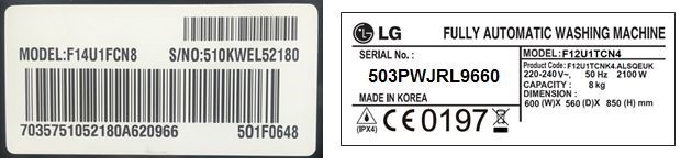 LG Washing Machine Serial Plate