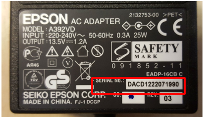 Epson AC adapter for scanner