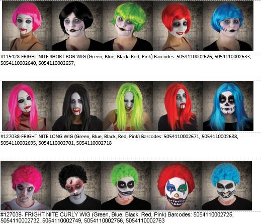 Dealz Hallowe'en wigs