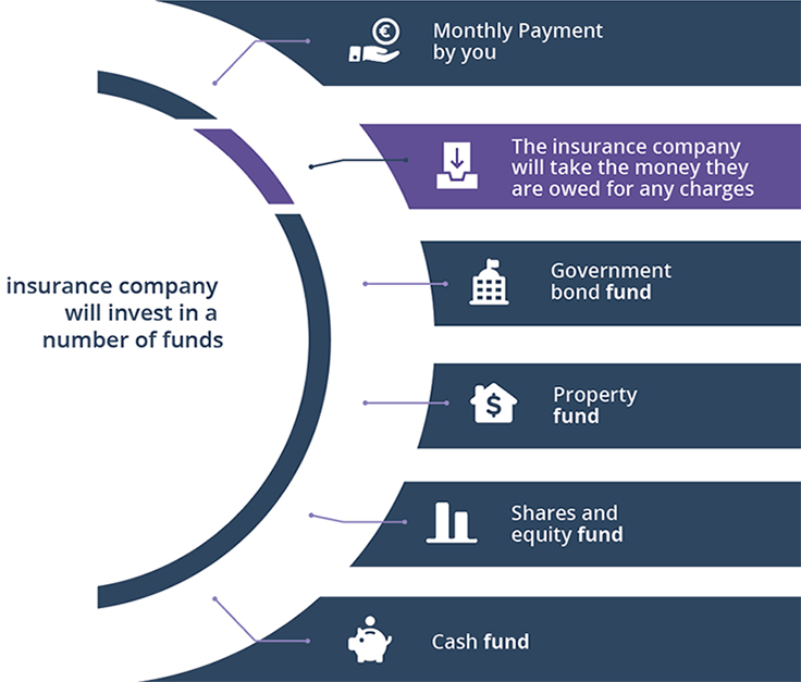 Insurance company will invest in a number of funds - Monthly payment by you; Government bond fund; Property fund; Shares and equity fund; Cash fund